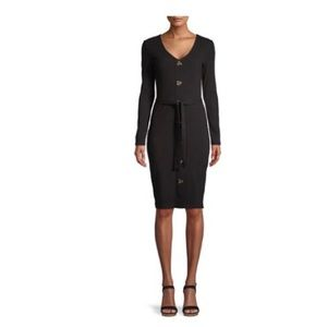 NWT  Belted Button Front Midi Dress Black